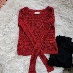 Hollister Red Long Sleeve Knit Crop Sweater